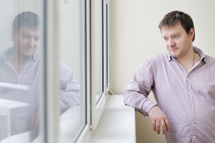 Man feeling depressed, overweight, and no motivation.
